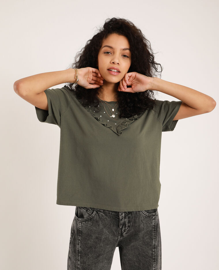 T-shirt con perle kaki - Pimkie