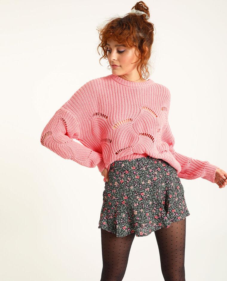 Pull in maglia traforata rosa cipria