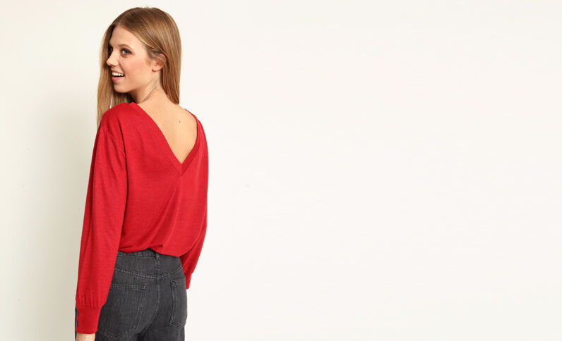 T-shirt aperta dietro rosso