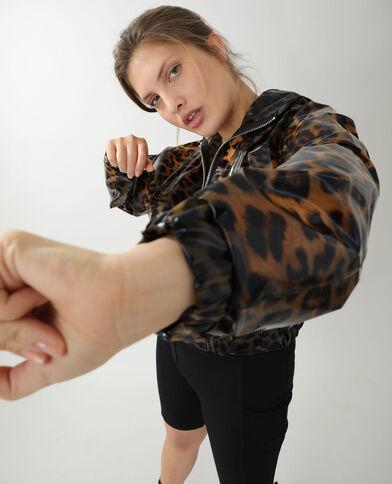 Giacca impermeabile leopardata marrone