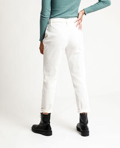 Pantalone dritto high waist écru