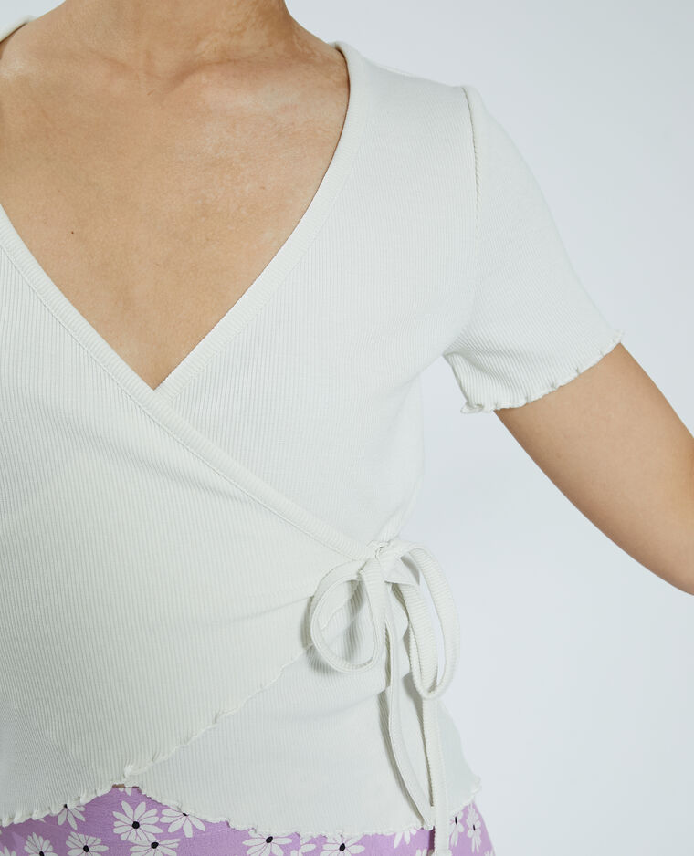 Cache-cœur in maglia a coste bianco sporco - Pimkie