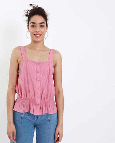 Top con spalline larghe rosa