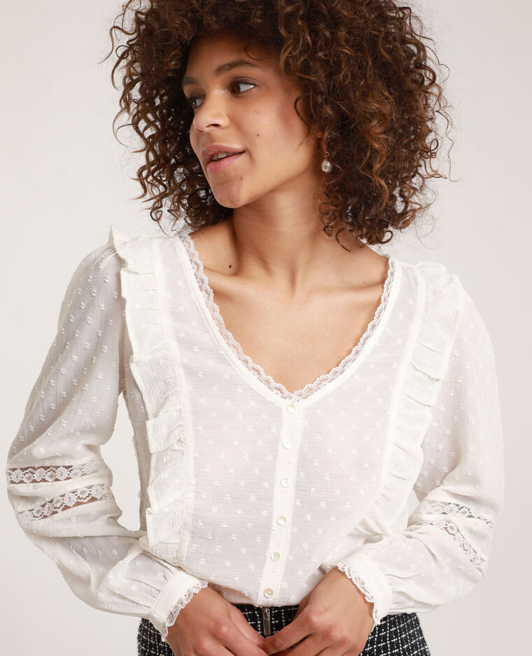 Blusa in plumetis bianco sporco