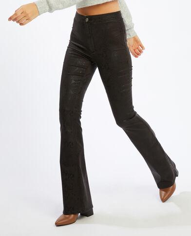 Pantalone flare spalmato pitone bianco - Pimkie