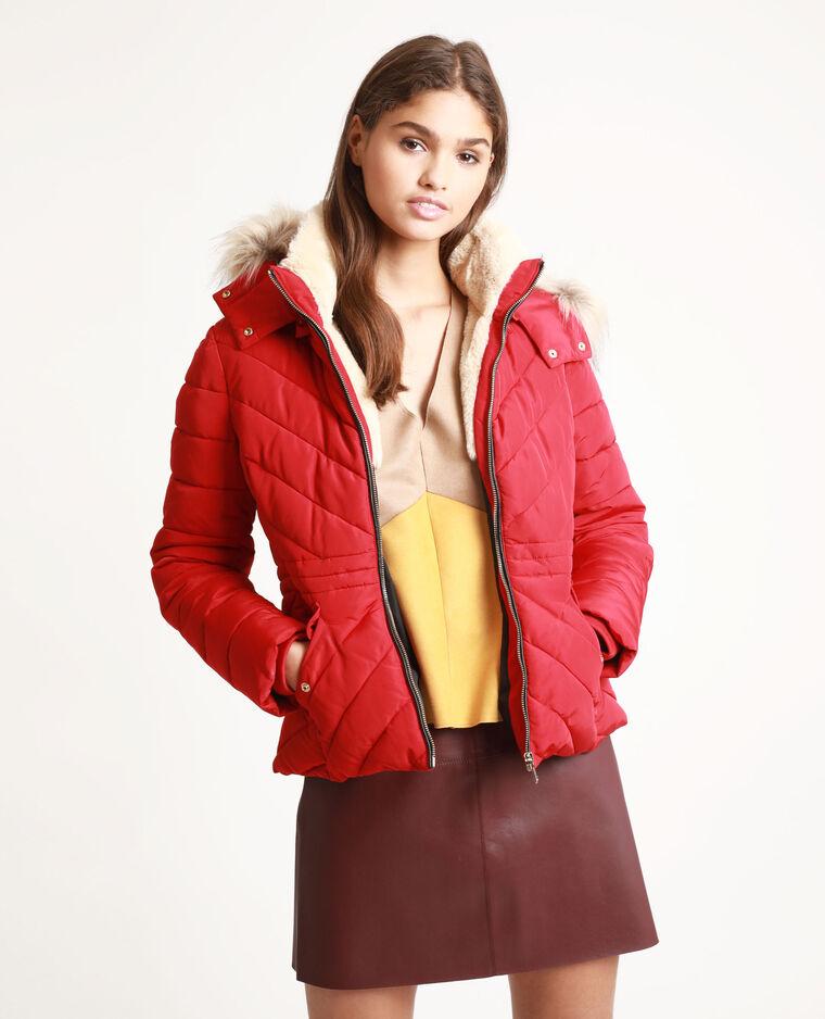 Piumino con pelliccia ecologica rosso