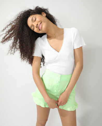 T-shirt a coste bianco sporco - Pimkie