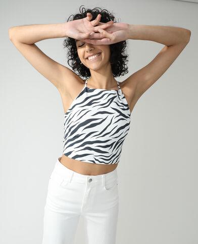 Top zebrato con nodo sul retro nero - Pimkie