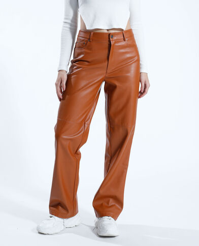 Pantalone dritto in similpelle cammello - Pimkie