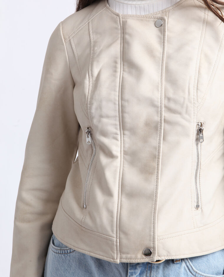 Giacca in similpelle beige corda