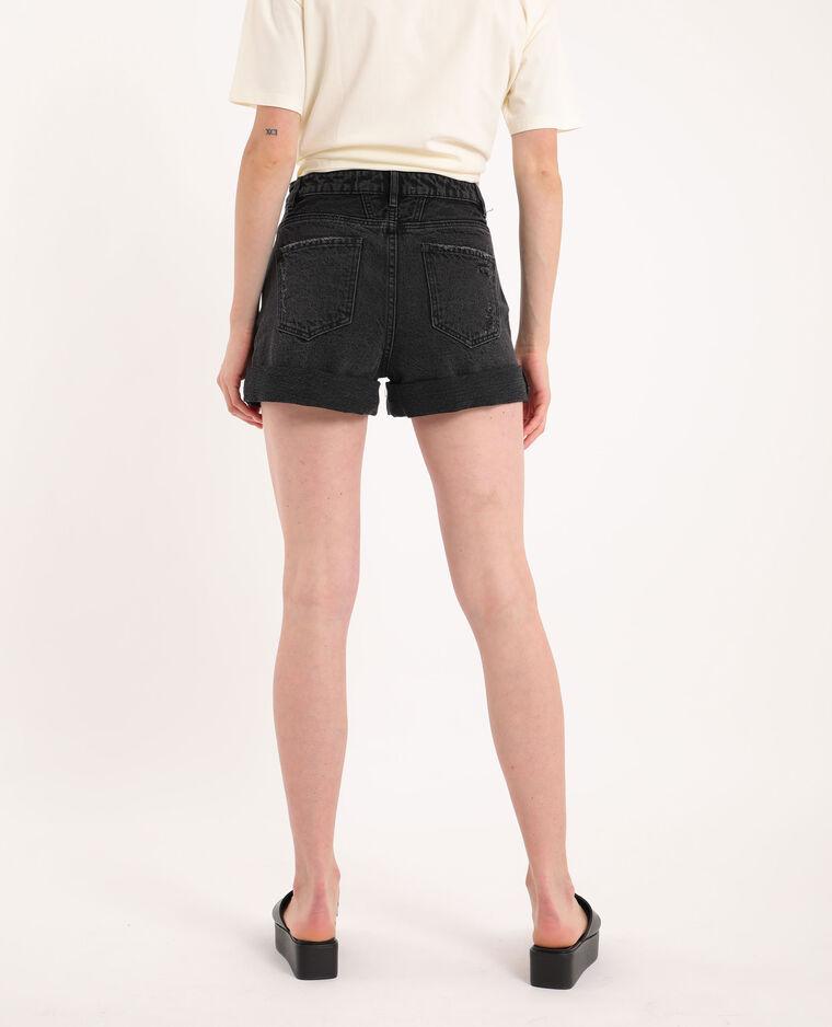 Short di jeans destroy nero
