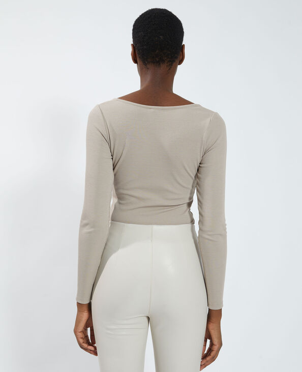 Body a coste in stile corsetto marrone - Pimkie