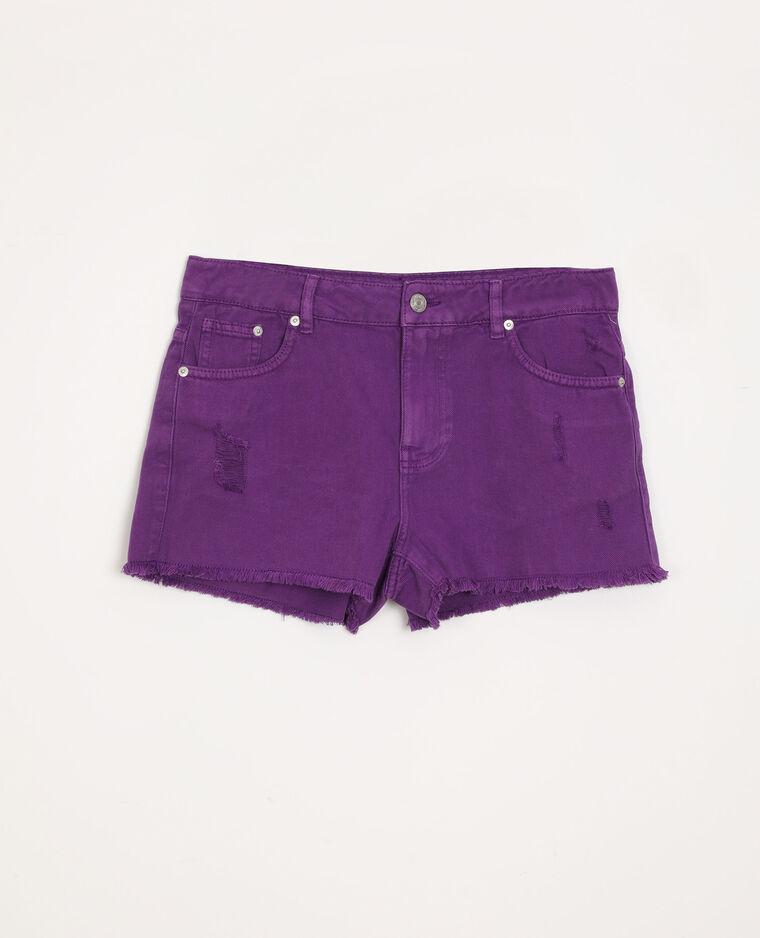 Short di jeans destroy viola