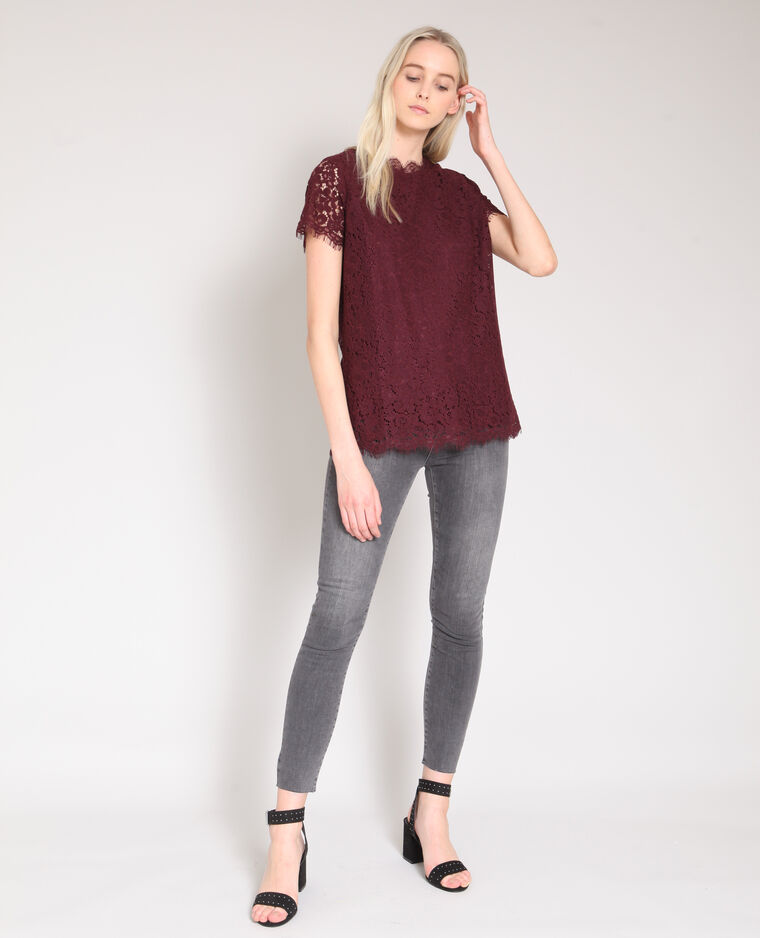 Blusa in pizzo bordeaux