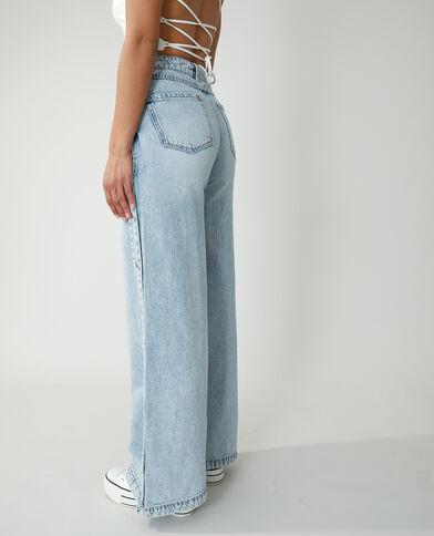 Jeans wide leg high waist con bottoni a pressione blu chiaro - Pimkie