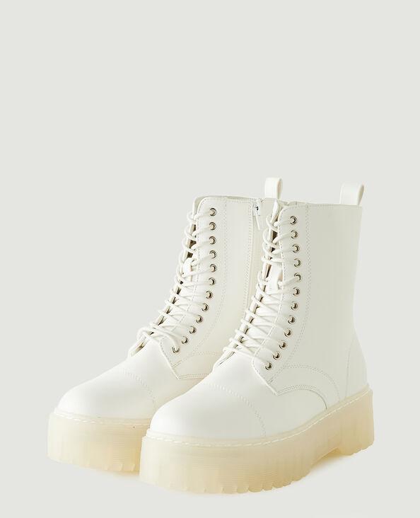 Stivali con plateau in similpelle bianco - Pimkie