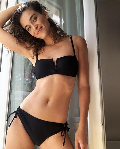 Pezzo sopra del bikini con texture nero
