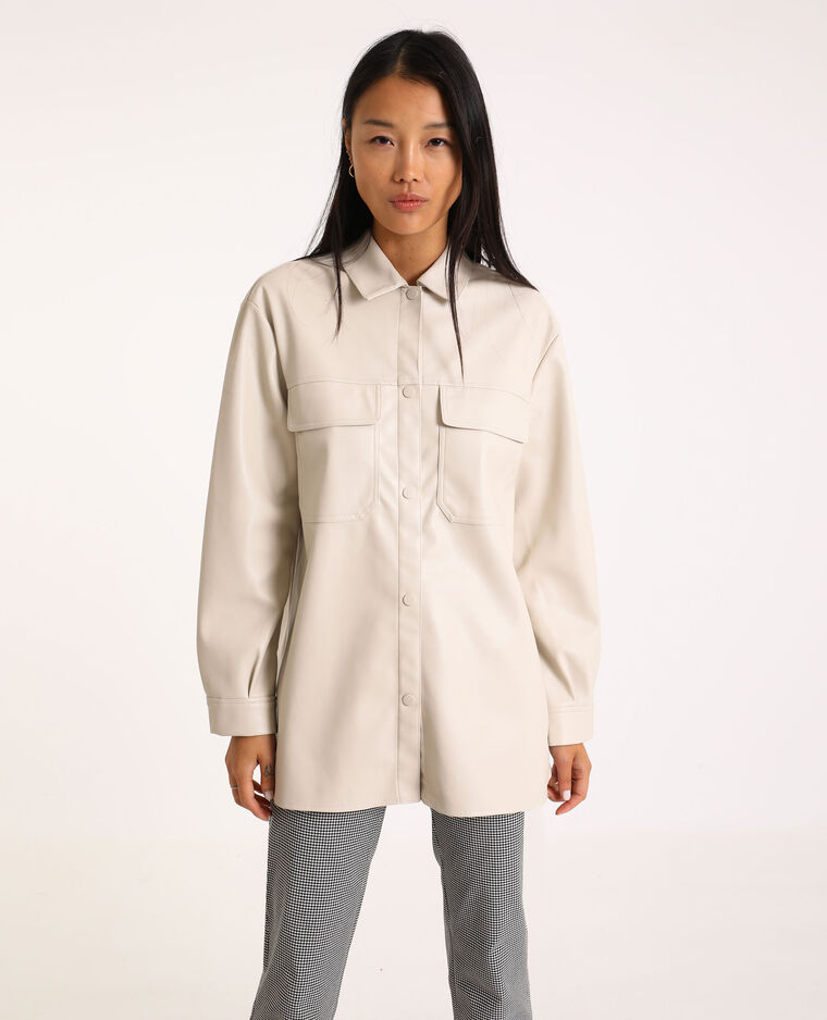 Camicia oversize in similpelle bianco sporco