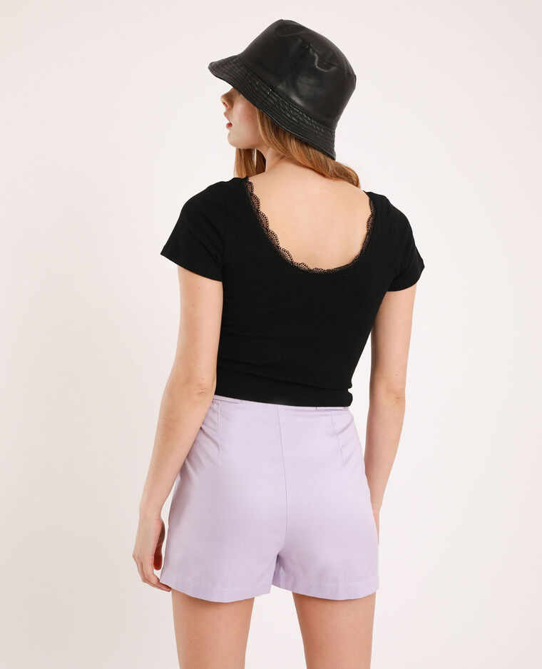 T-shirt cropped in pizzo nero