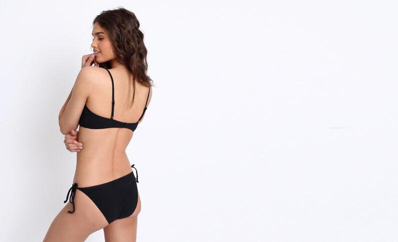 Pezzo sotto di bikini a fiocchi nero