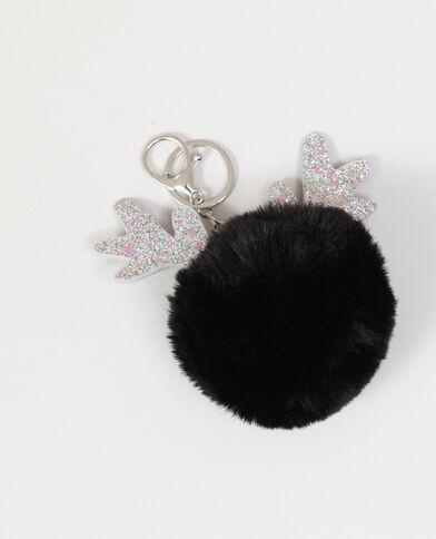 Portachiavi pompon nero