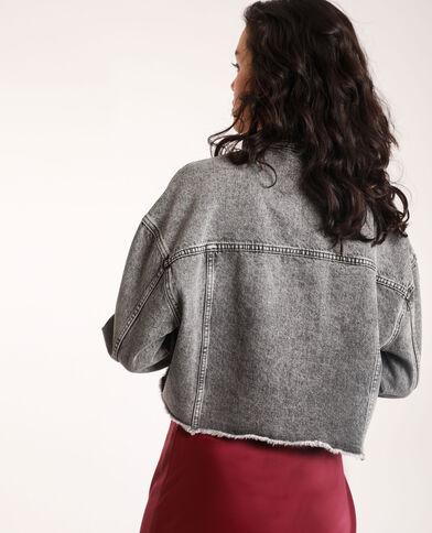 Giacca corta in jeans grigio delavato