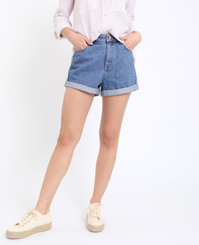 Short in jeans high waist blu denim