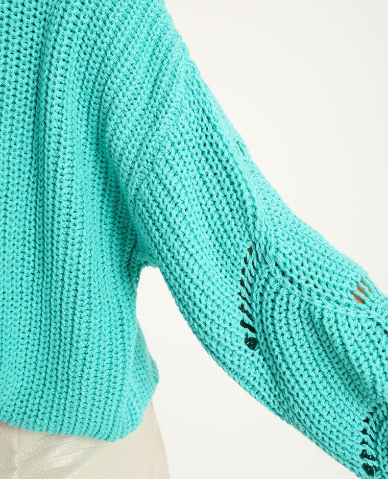 Pull in maglia traforata verde acqua