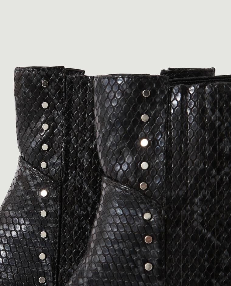 Stivaletti Chelsea effetto pitone con borchie nero - Pimkie
