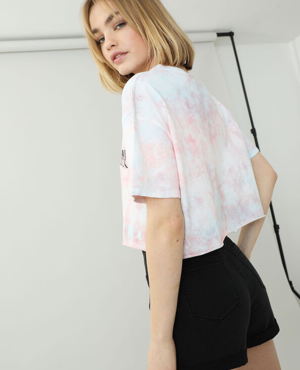 T-shirt cropped tie and dye rosa