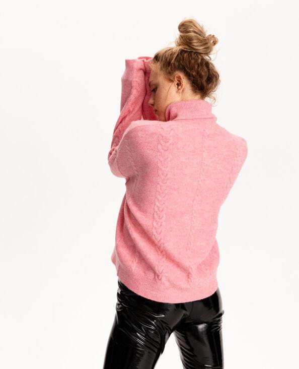 Pull con collo dolcevita e motivi a intreccio rosa cipria