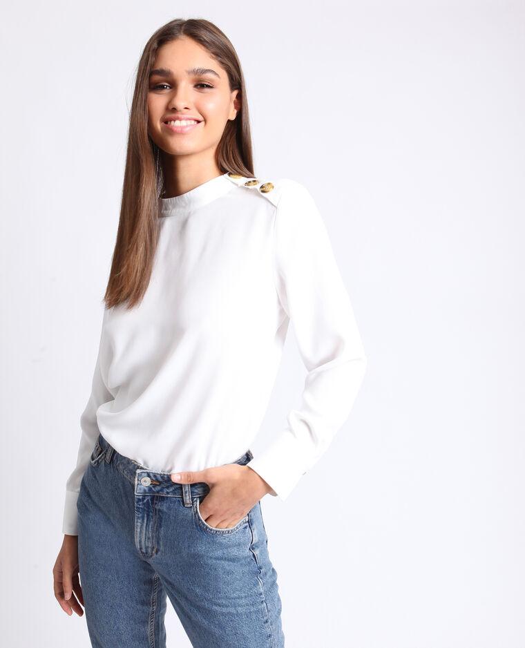Blusa con bottoni bianco sporco