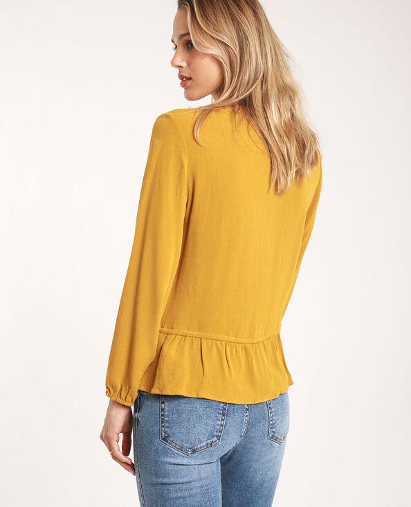 Camicia ricamata giallo mostarda