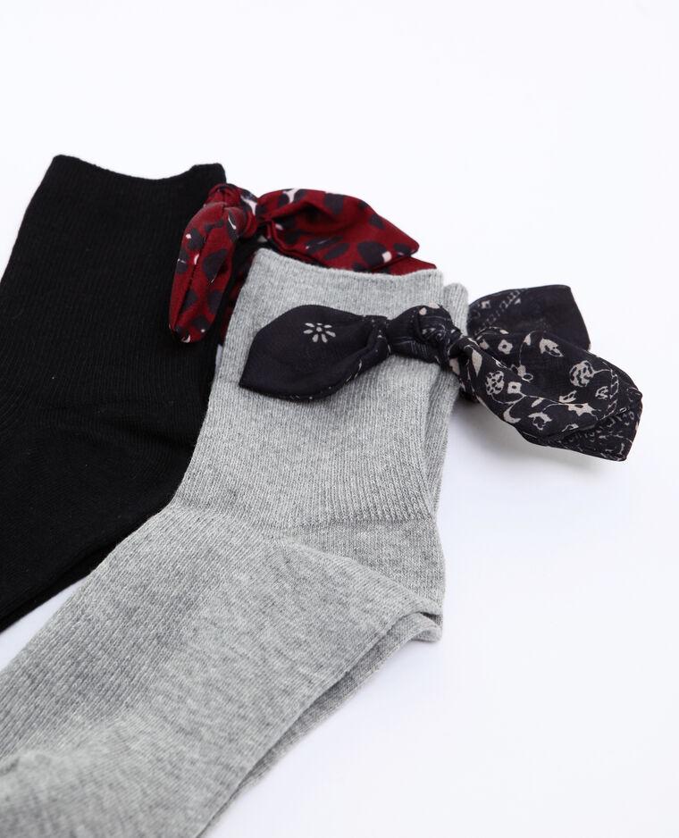 Lotto da 2 paia di calze con nastro grigio perla