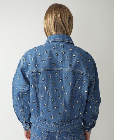 Giacca di jeans a cuori blu denim - Pimkie