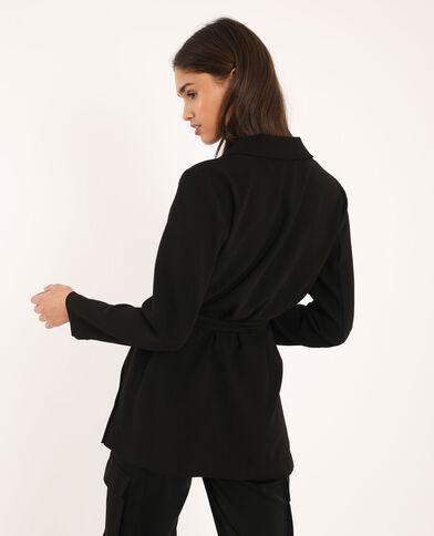 Blazer morbido con cintura nero