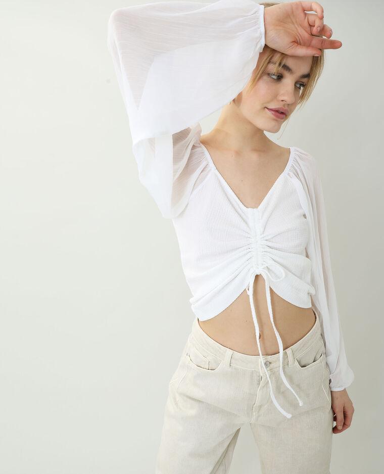 Top con maniche trasparenti bianco