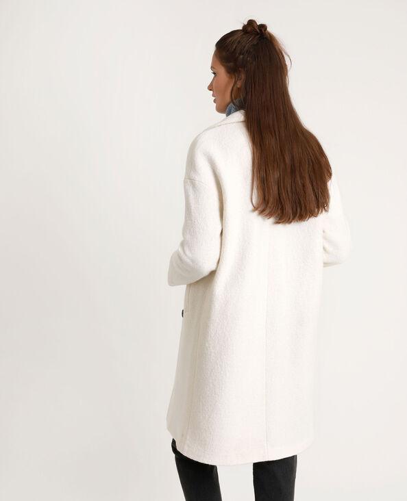 Cappotto lungo con lana bianco sporco