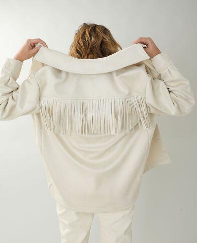 Giacca camicia effetto pelle scamosciata con frange beige