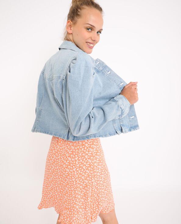 Giacca in jeans con maniche a palloncino blu delavato