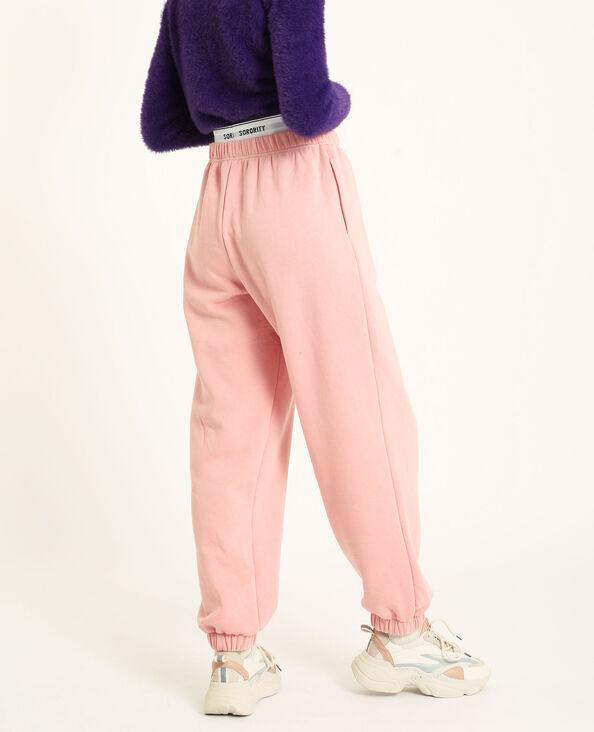 Pantalone in cotone felpato loungewear rosa