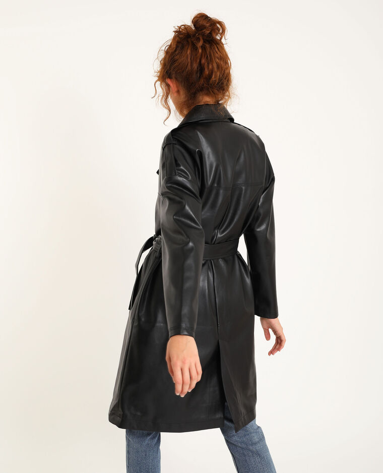 Trench in similpelle nero