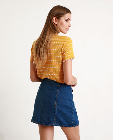 T-shirt in maglia a coste giallo