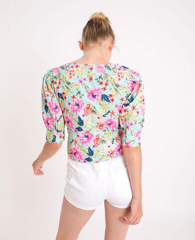 Camicia corta a fiori turchese