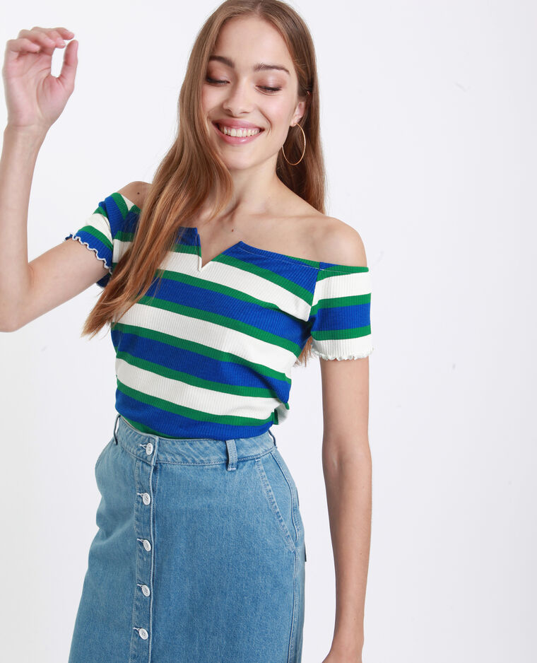 T-shirt con piccolo collo a V blu