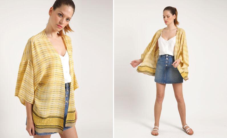 Kimono stampato giallo