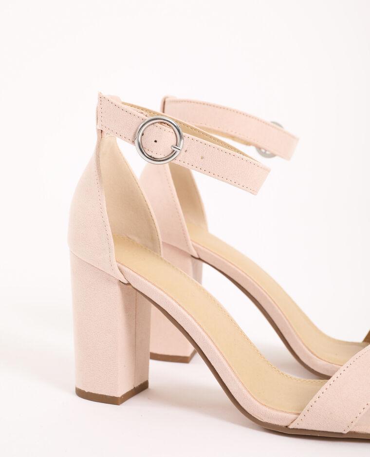 Sandali con tacco microfibra rosa cipria