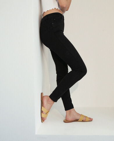 Jeans push up mid waist nero
