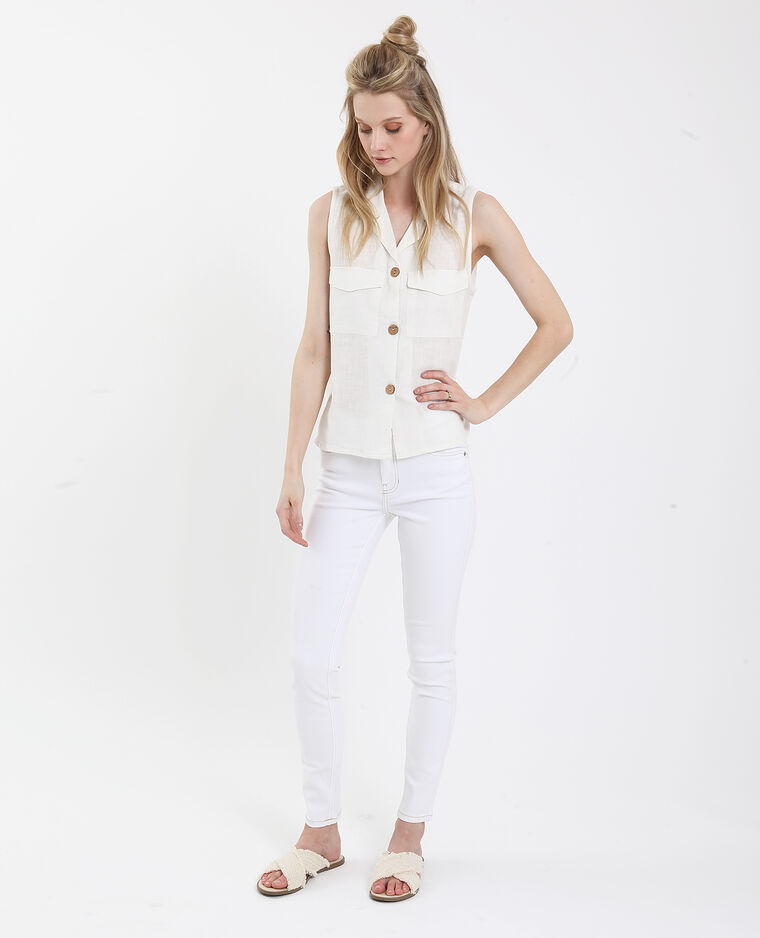 Jeans push up mid waist bianco