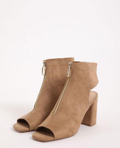 Sandali con zip marrone